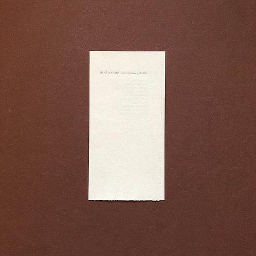 Hans Warren, Twee nagelaten gedichten