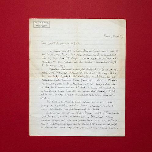 Handgeschreven brief van M.C. Escher aan Hella Haasse