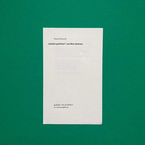 """Benno Barnard, """"Laatste gedichten"""" van Hans Andreus"""