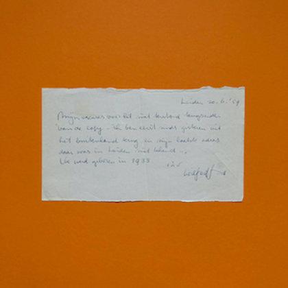 Handgeschreven briefje van Wilfred Smit