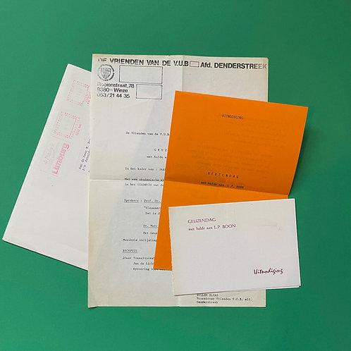 Drie uitnodigingen ter ere van Louis Paul Boon