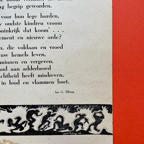 Zeldzame rijmprent van Jan Elburg en Lotte Ruting