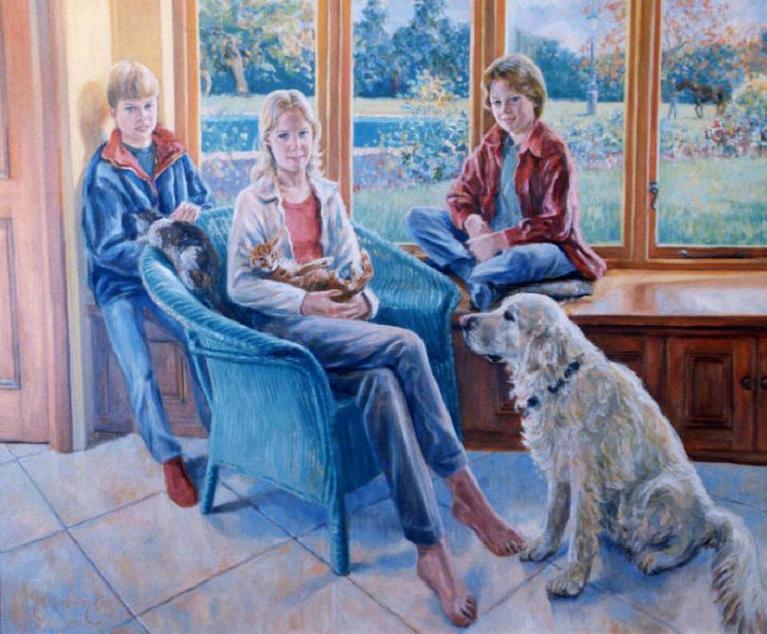 """""""Freddie, Poppy & Flavia with their Cats, Dog & Pony"""""""