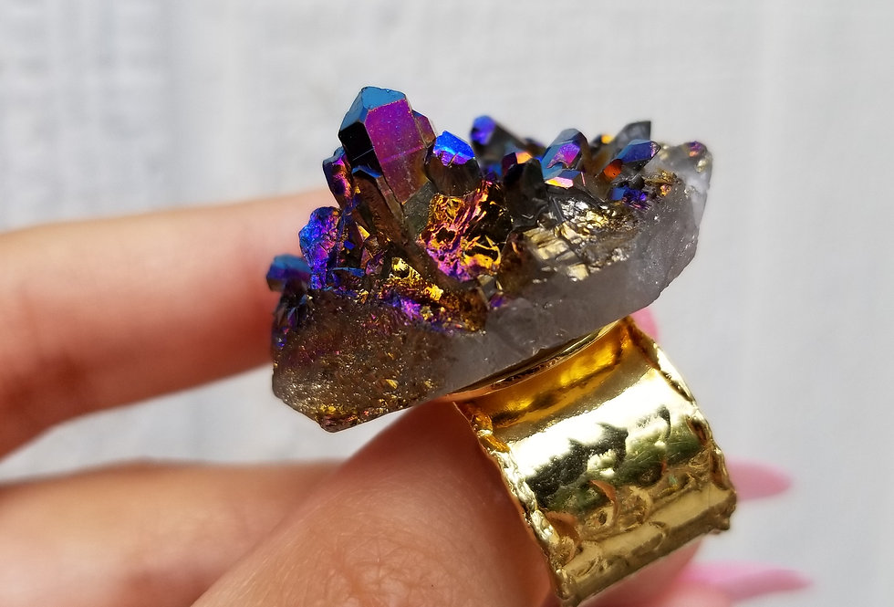 Titanium Aura Adjustable Ring