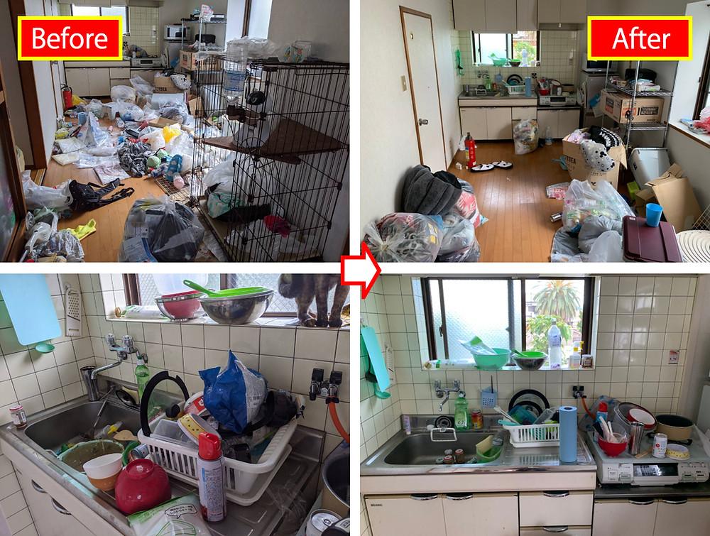 海南市、ごみ屋敷処分、ごみ屋敷片付け、キッチン、ダイニング、清掃