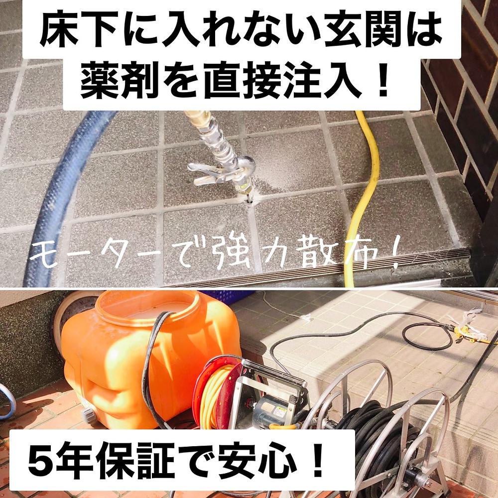 床下に入れない玄関は薬剤を直接注入!5年保証で安心!シロアリ駆除消毒
