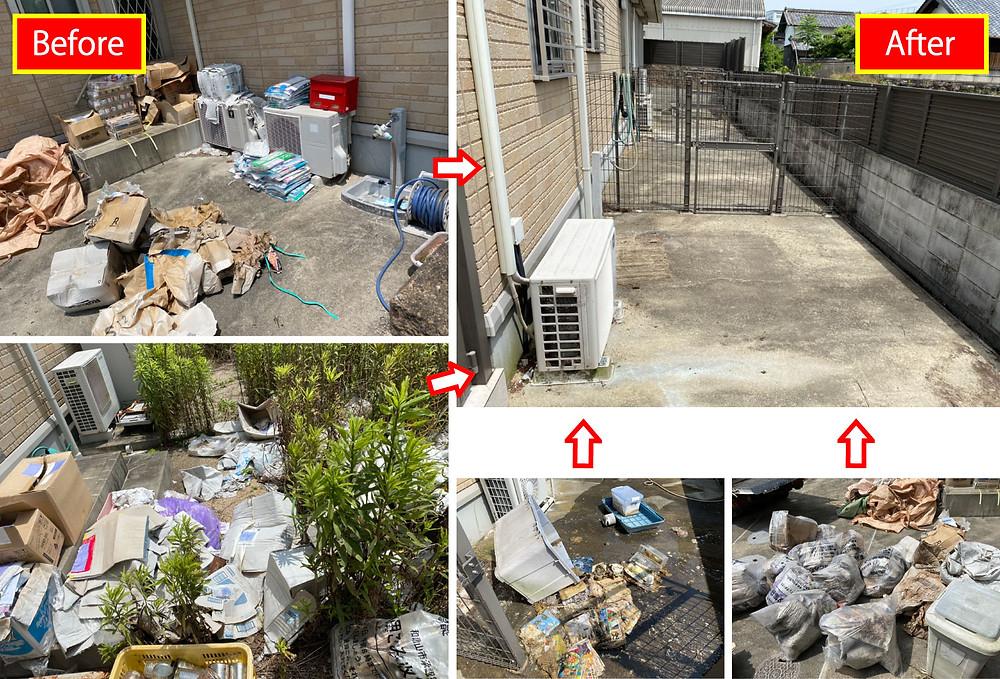 お庭のお掃除、掃除、ごみ処分