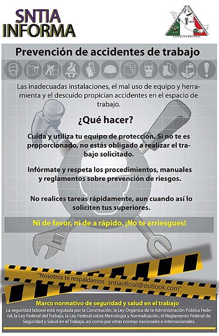 SNTIA INFORMA: Prevención de Accidentes de Trabajo.