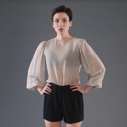T&B Silk Blouse Wool Shorts 1.JPEG