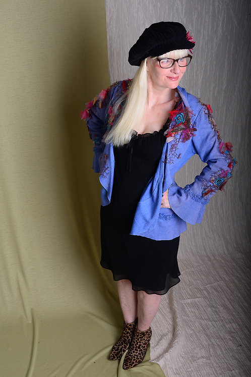 Clearance - Repurposed Hand-embroidered Ruffled Jacket