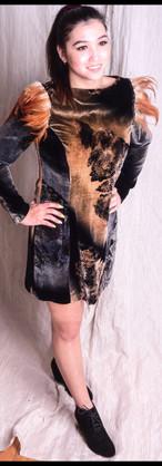 Dress TwoTone Velvet Feathers.JPG