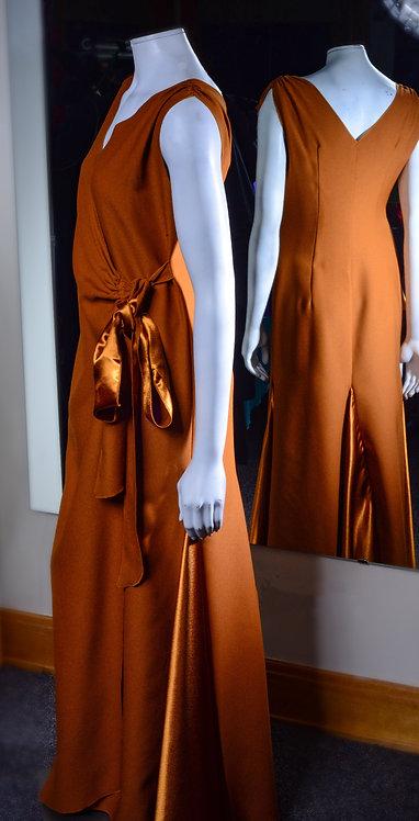 Shimmering Burnt Gold Wrap Dress