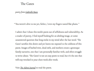 """The Gates"" featured on Wildness' Curated Literary Guide!"
