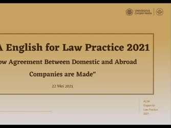 """ALSA English for Law Practice 2021 """"How Agreement Between Domestic and Abroad Companies are Made"""""""