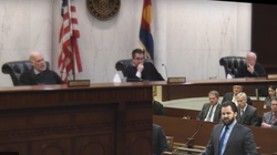 James P Eckels presents oral arguments before a panel of judges inside the Colorado Court of Appeals