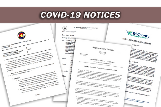 Public Notices Issued by Courts and County Officials pertaining to the COVID19 pandemic