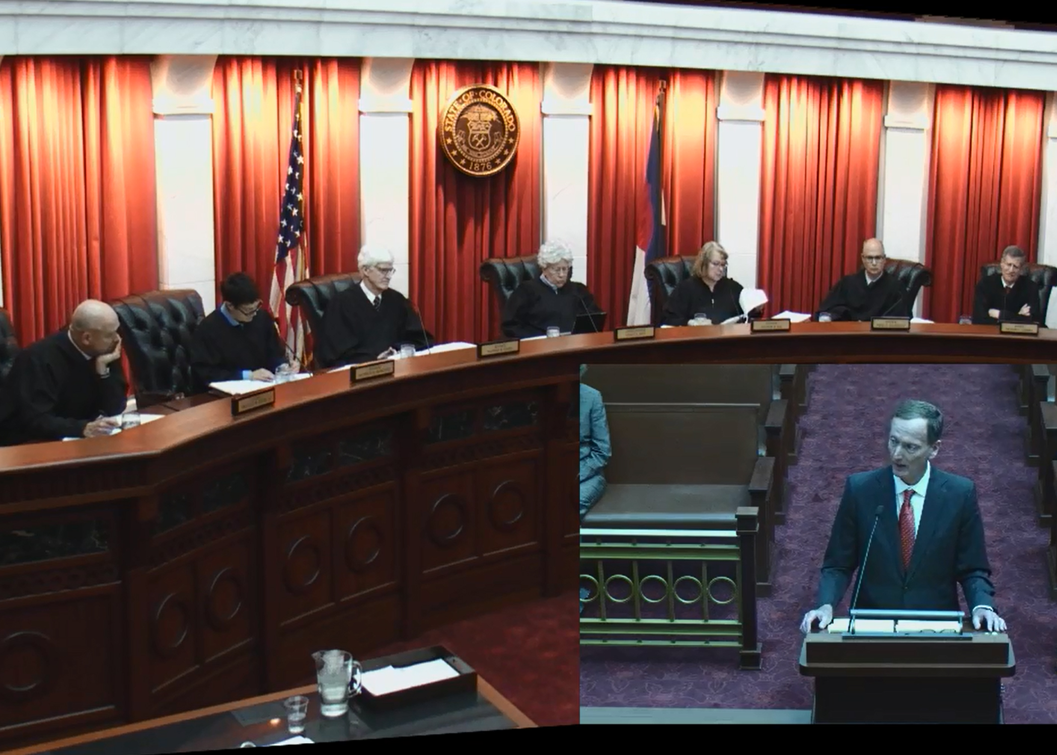 Joseph A Murr presents oral arguments before the panel of judges inside the Colorado Supreme Court C