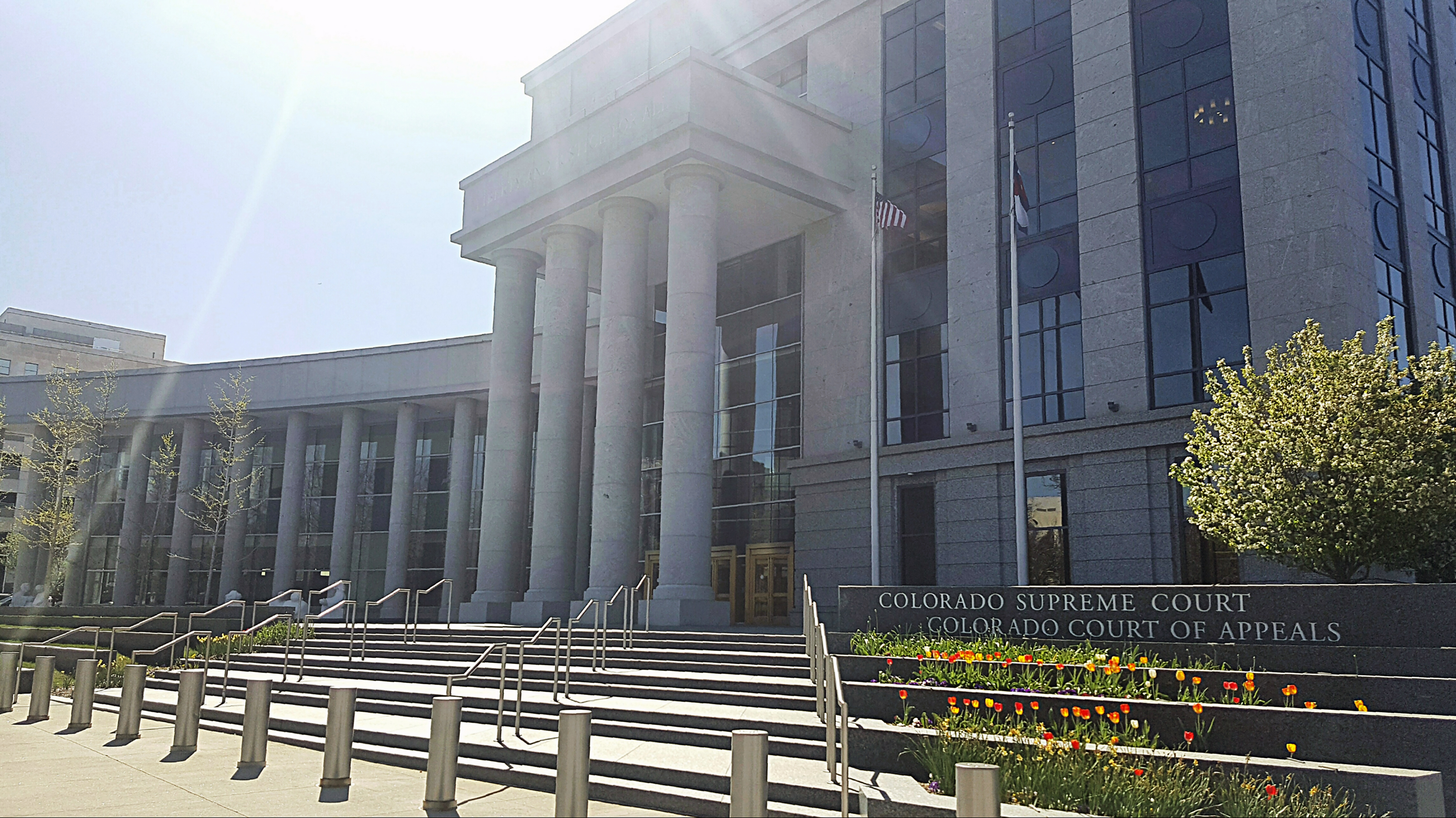 Front entrance of the Colorado Supreme Court and Court of Appeals Courthouse in Denver Colorado