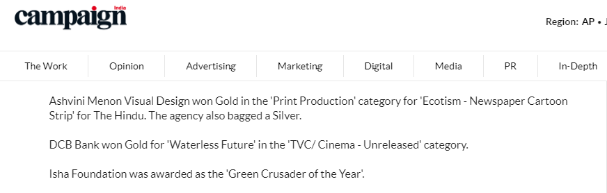 Campaign India (Mention) Olive Crown Awards 2018  7 March 2018