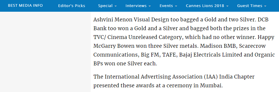 Best Media Info (Mention) O&M bags campaign of the year at Olive Crown 2018  7 March 2018