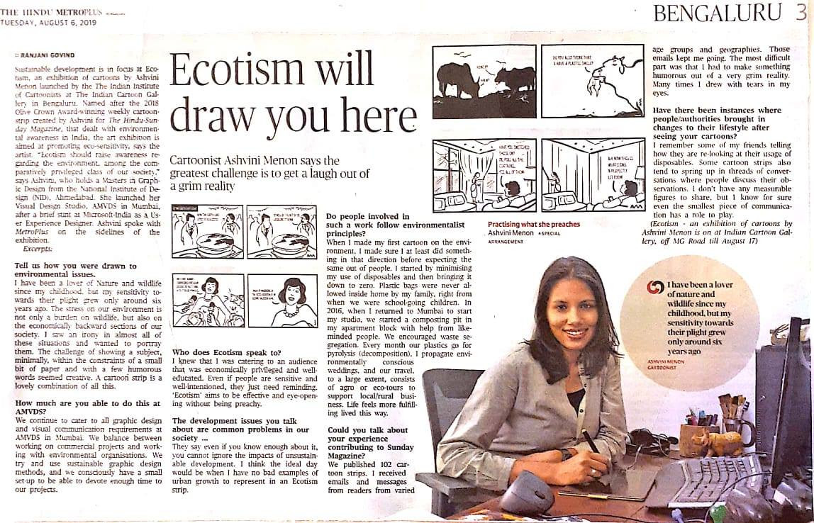The Hindu (Story + Interview) Ecotism Will Draw You Here | Journalist - Ranjani Govind | 6 August 2019