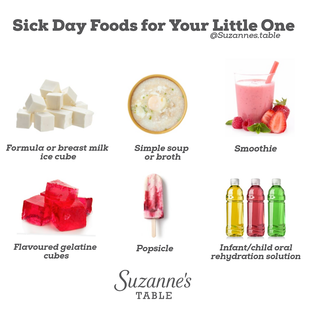 Infographic of food and fluid images to offer sick baby sick toddler sick child