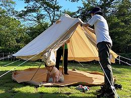 グランピング用テント(竹の子型)の組み立て