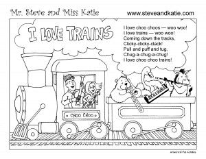 Mr. Steve & Miss Katie (fun music for kids) TRAIN COLORING BOOK