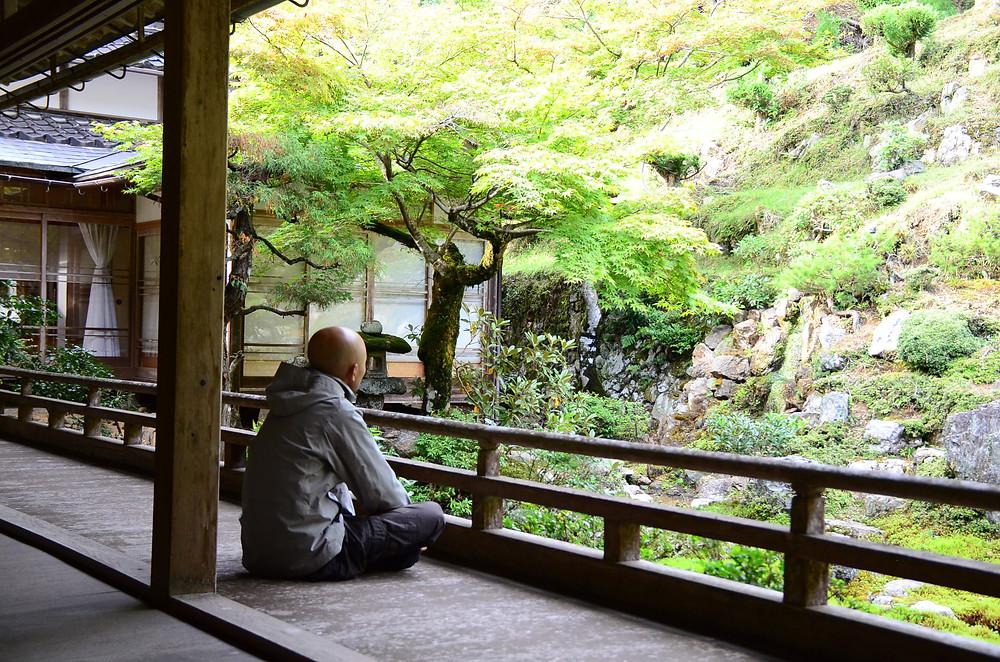 Meditating in front of Zen garden at Josho Koji Temple