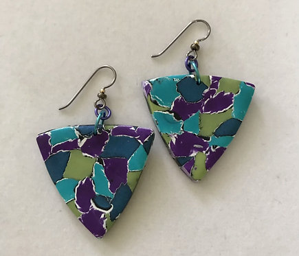 Polymer Puffy Triangle Earrings Turquoise & Blue point down