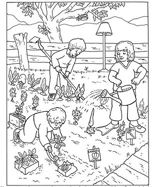 Kids in the garden coloring page.jpg