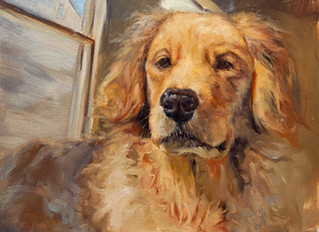 """""""A Penny for your Thoughts"""" Day #5 in my Dog Day Month Painting Project"""