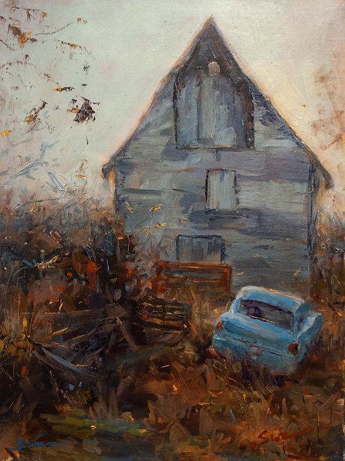 Car and Old Barn