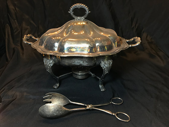 Silverplate Chaffing Dish with Tongs