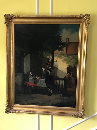 Monumental Antique Oil on Canvas of Dutch Courtyard Scene