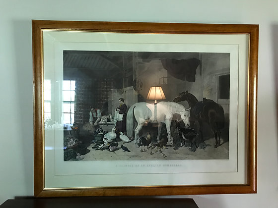 """Hand Colored Engraving """"A Glimpse of an English Homestead"""""""