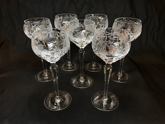 Set of Bohemian Crystal Hock Wines