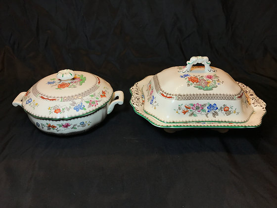 "Spode ""Chinese Rose"" Covered Vegetable Pair"
