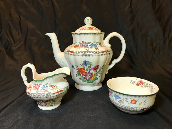 "Spode ""Chinese Rose"" Coffee Trio"