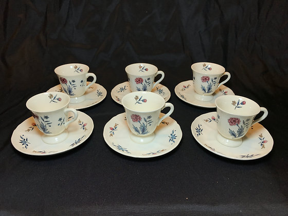 "Set of Wedgwood ""Williamsburg Potpourri"" Demitasse Cups and Saucers"