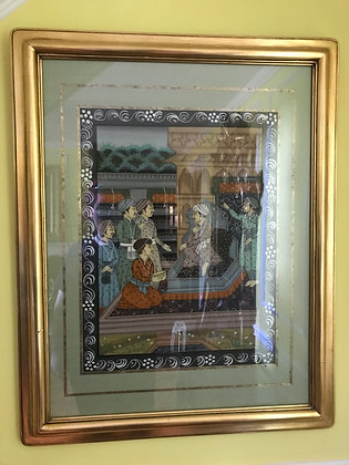 Hand Painted Hindu Court Scene Batik Painting