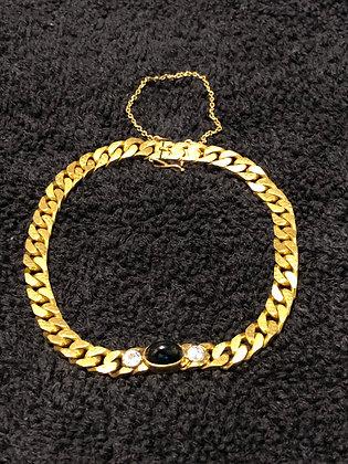 14 K Gold Diamond and Sapphire Bracelet