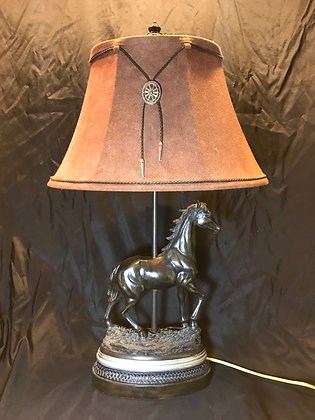 Resin Horse Table Lamp with Faux Suede Shade