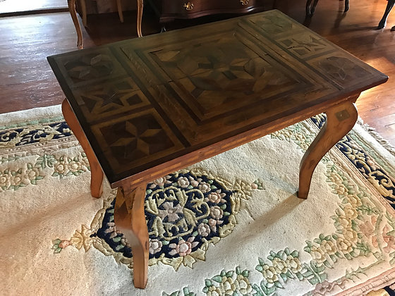 Antique Tramp Art Parquetry Writing Table