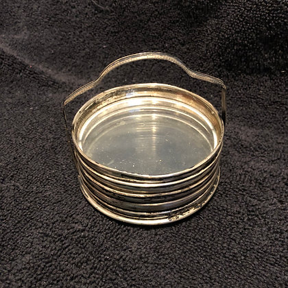 Set of Sterling and Glass Coasters with Carrier