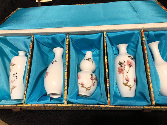 Boxed set of Chinese Miniature Porcelain Vases