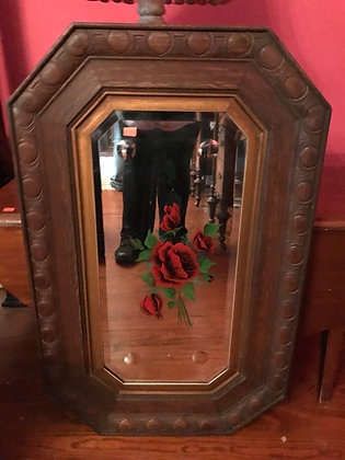 Antique Parcel-Gilt Mirror with Roses