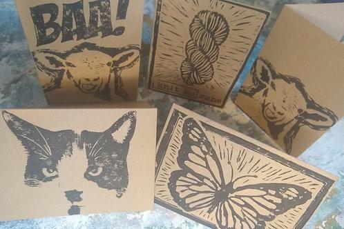 Lino Printed Cards