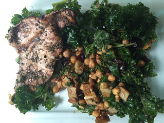Grilled Chicken with Chickpea Kale Salad