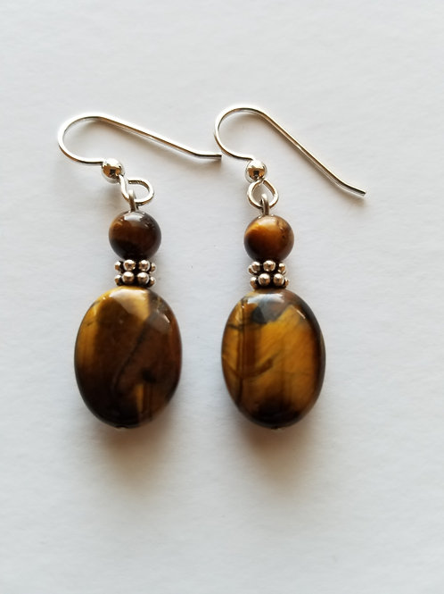 TIGER EYE OVAL DROP EARRINGS